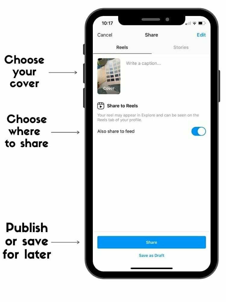publish instagram reels tips